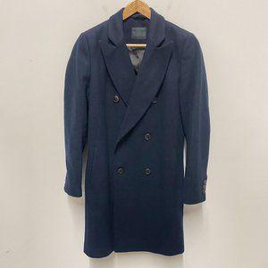 """ASOS Mens Navy Blue Wool Blend Pea Coat 32-34"""" XXS"""